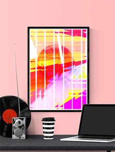 Neu Wave Abstract Sunset Print in a frame on a wall
