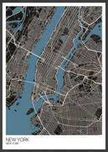 Load image into Gallery viewer, New York Graphic Map Design Print in a frame