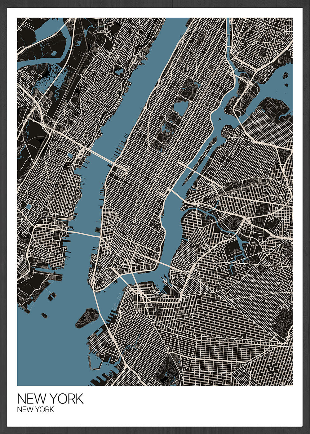 New York Graphic Map Design Print in a frame