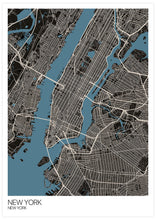 Load image into Gallery viewer, New York Graphic Map Design Print not in a frame