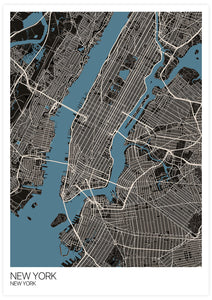 New York Graphic Map Design Print not in a frame