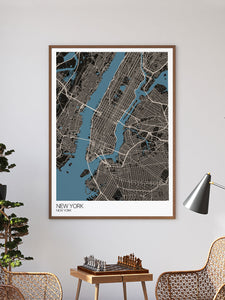 New York Graphic Map Design Print in a frame on a wall