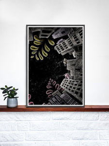 Night Jungle City Illustration Print in a frame on a shelf