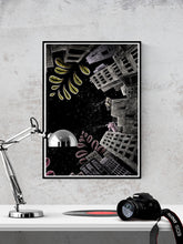 Load image into Gallery viewer, Night Jungle City Illustration Print in a frame on a wall