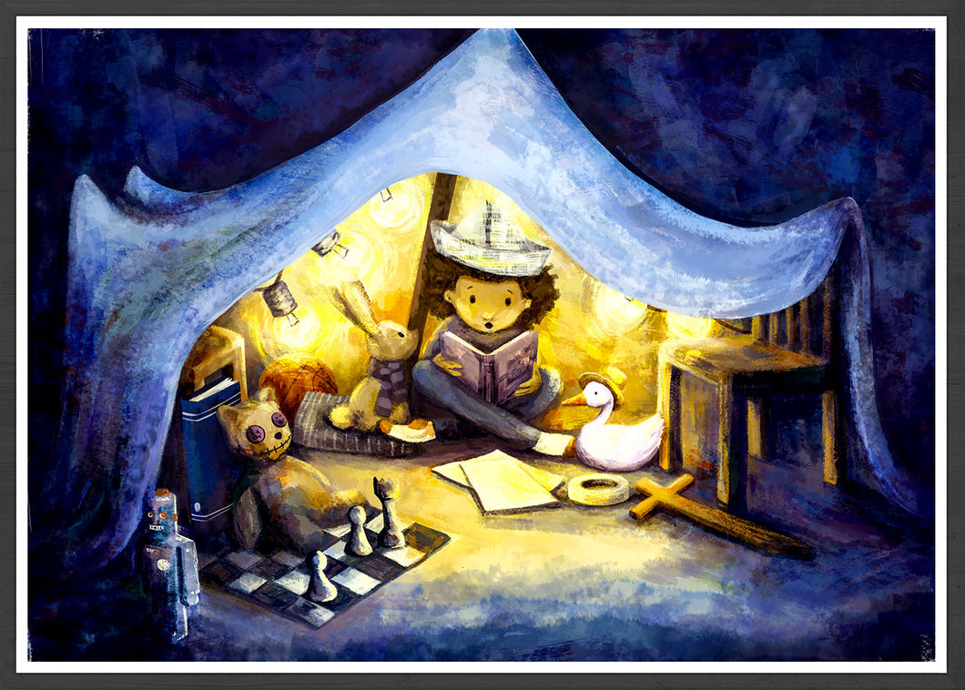 Night Time Stories Kids Wall Art in a frame