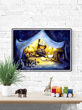 Load image into Gallery viewer, Night Time Stories Kids Wall Art in a frame on a wall