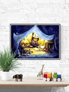 Night Time Stories Kids Wall Art in a frame on a wall