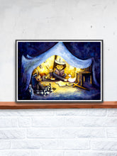 Load image into Gallery viewer, Night Time Stories Kids Wall Art in a frame on a Shelf