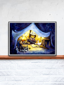 Night Time Stories Kids Wall Art in a frame on a Shelf
