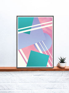 Night Club Geometric Retro Art Print on a shelf