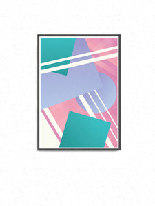 Night Club Geometric Retro Art Print on a wall