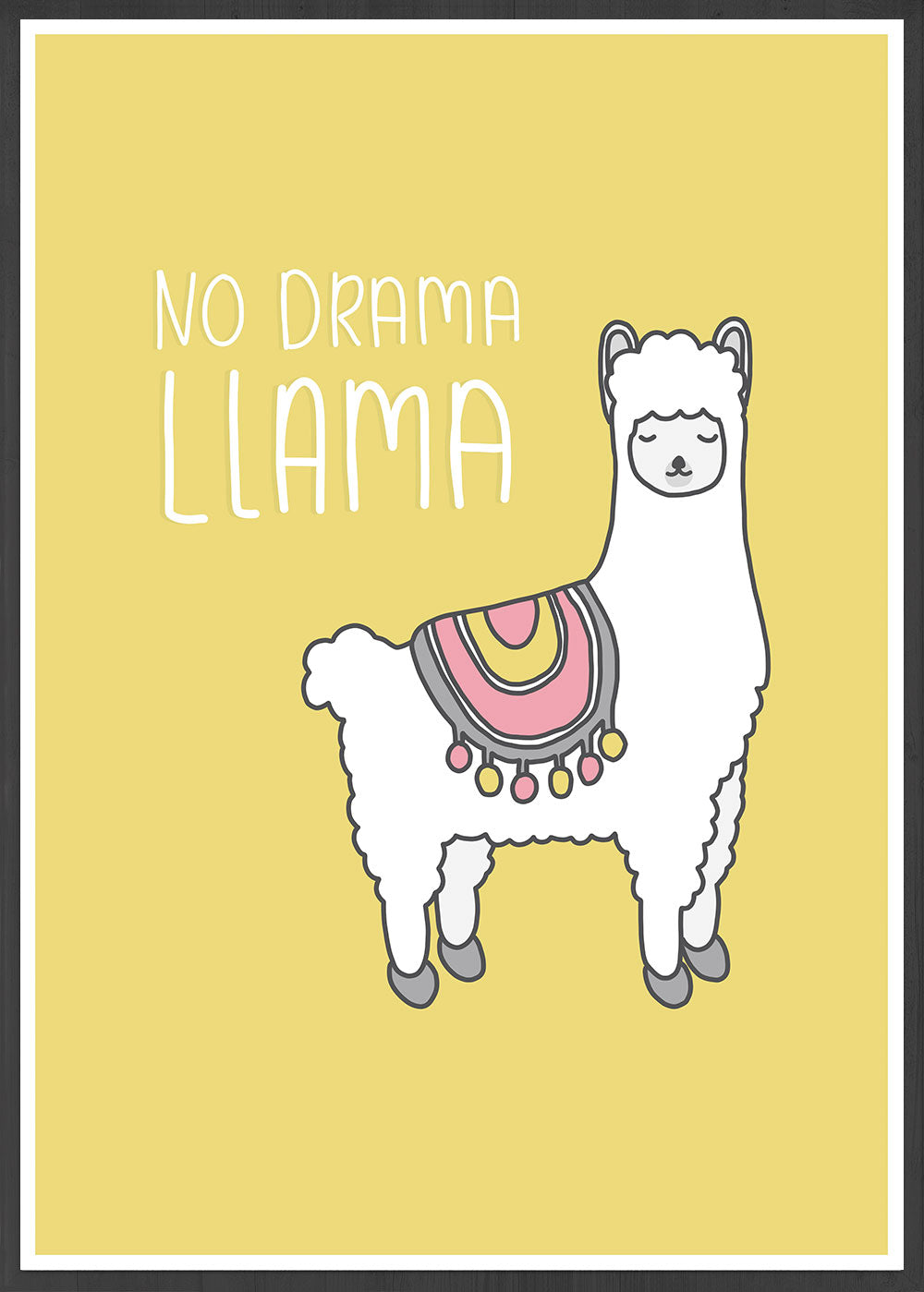 No Drama Llama Animal Art Print in a frame