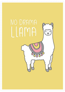 No Drama Llama Animal Art Print not in a frame