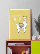 Load image into Gallery viewer, No Drama Llama Animal Art Print in a frame on a shelf