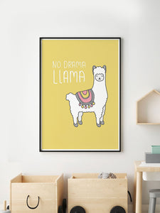 No Drama Llama Animal Art Print in a frame on a wall