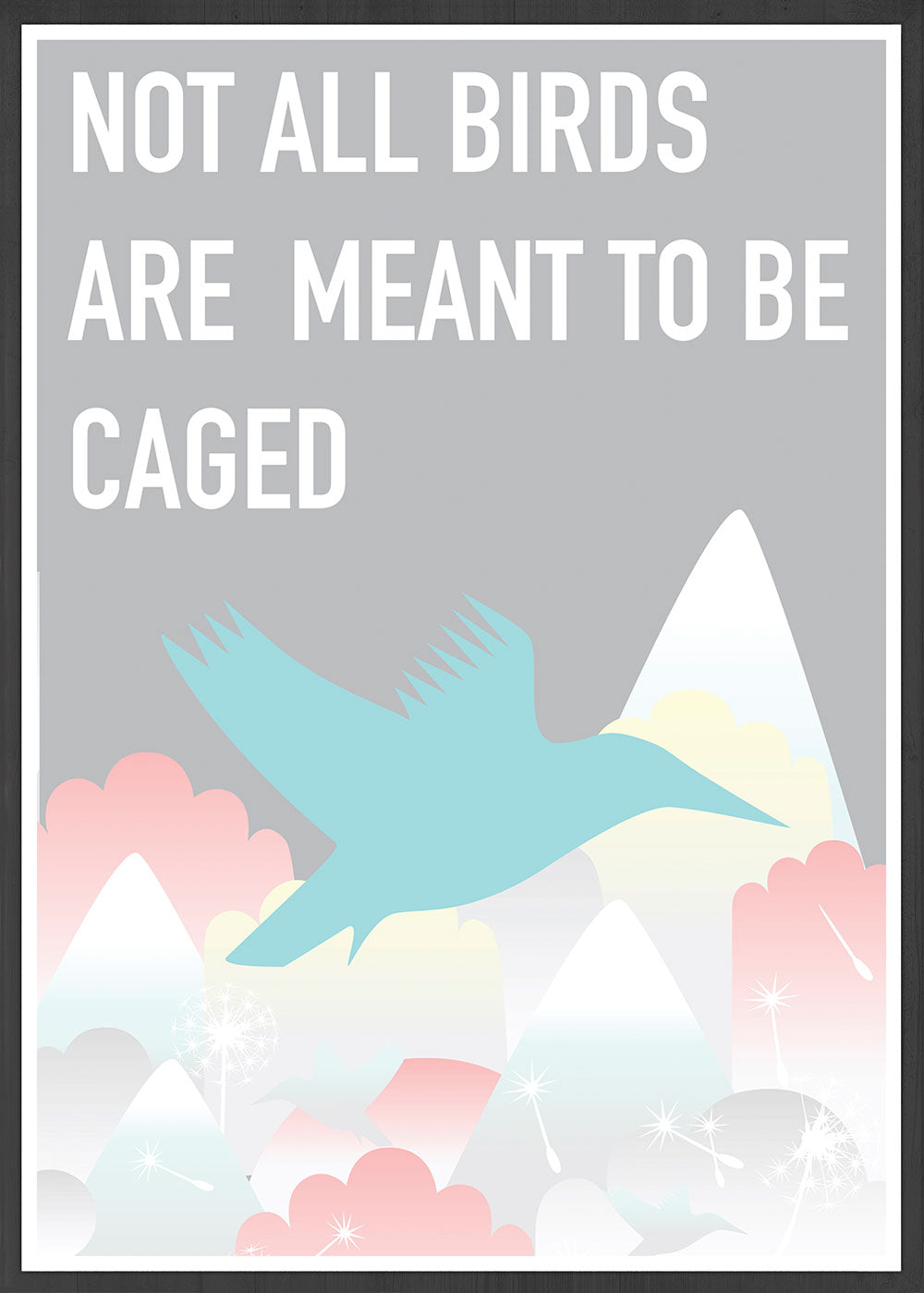 Caged Bird Art Print in a frame