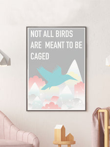 Caged Bird Art Print in a frame on a wall