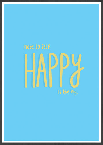 Happy Is Key Quirky Art Print in a frame
