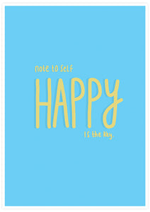 Happy Is Key Quirky Art Print not in a frame