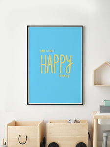 Happy Is Key Quirky Art Print in a frame on a wall