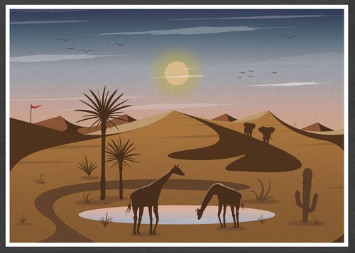 Oasis Illustration Art Print for Kids in frame