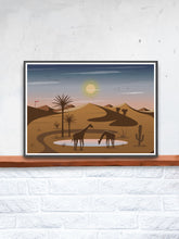 Load image into Gallery viewer, Oasis Illustration Art Print for Kids in a frame on a shelf