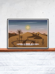 Oasis Illustration Art Print for Kids in a frame on a shelf