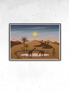 Oasis Illustration Art Print for Kids no frame