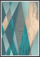 Load image into Gallery viewer, Ocean Tones Geometric Ocean Print in a frame