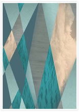 Load image into Gallery viewer, Ocean Tones Geometric Ocean Print in no frame