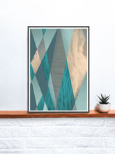 Load image into Gallery viewer, Ocean Tones Geometric Ocean Print on a shelf