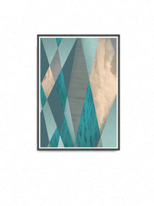 Ocean Tones Geometric Ocean Print on a wall