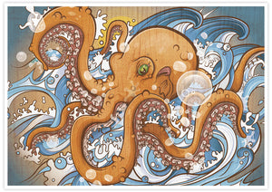 Octopus Sea Creature Print no frame