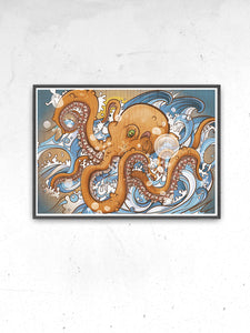 Octopus Sea Creature Print in a frame on a wall