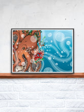 Load image into Gallery viewer, Octopus Waves Sea Creature Print Artwork in a frame on a shelf
