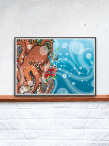 Octopus Waves Sea Creature Print Artwork in a frame on a shelf