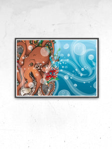 Octopus Waves Sea Creature Print Artwork in a frame on a wall