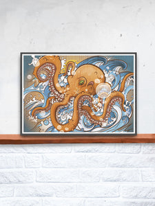 Octopus Sea Creature Print in a frame on a shelf