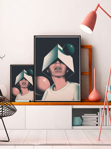 Olcia Modern Illustration Print 2 sizes on a shelf