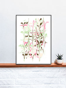 Ondulation 2 Abstract Art Poster in a frame on a shelf