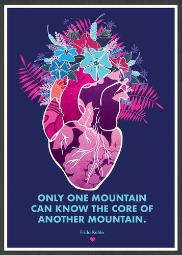 Only One Mountain Illustration Print in a frame