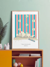 Load image into Gallery viewer, Opera House Sandcastle Sydney Art Print in a frame on a shelf
