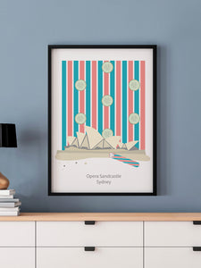 Opera House Sandcastle Sydney Art Print in a frame on a wall