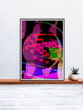 Load image into Gallery viewer, Orbitek Glitch Art Poster in a frame on a shelf