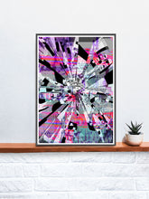 Load image into Gallery viewer, Out of Tune Glitch Artwork Print in a frame on a shelf