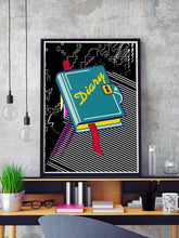 Load image into Gallery viewer, Page Invaders Illustration Print in a frame on a shelf