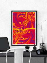 Load image into Gallery viewer, Paint Wave Glitch Art Print on a wall