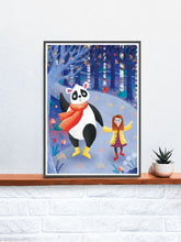 Load image into Gallery viewer, Panda Art Print Illustration in a frame on a shelf