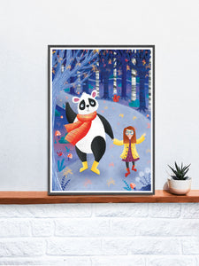Panda Art Print Illustration in a frame on a shelf