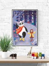 Load image into Gallery viewer, Panda Art Print Illustration in a frame on a wall